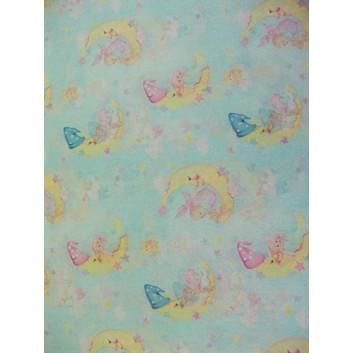 Geschenkseide; 50 x 70 cm; Kindermotiv: Mond mit Schlafmütze, Baby; rosa-gelb-blau; Seide, geprägt; Bogen, einmal gelegt; ca. 25 g/qm