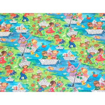 Geschenkpapier - Sonderpreis je kg; 70 x 100 cm; Kindermotiv: Kinder spielend am See; grün-blau-gelb-rot; Offset, glatt; Bögen gelegt