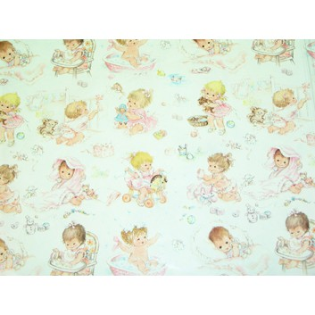 Geschenkpapier - Sonderpreis; 70 x 100 cm, gerollt; Kleinkindmotiv: Mädchen; pastellfarben; Offset, glatt; Bögen gerollt