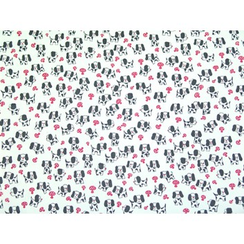 Geschenkpapier - Sonderpreis je kg; 70 x 100 cm; Hündchen auf Pilzjagd; schwarz-weiss-pink; Offset, glatt; Bögen gelegt