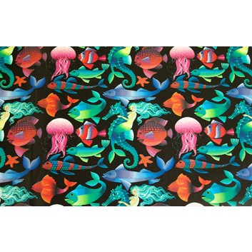 Geschenkpapier - Sonderpreis je kg; 70 x 100 cm; Meerestiere; blau-pink-schwarz-weiß; Offset, glatt; Bögen gelegt
