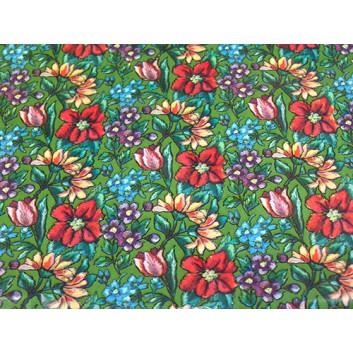 Geschenkpapier - Sonderpreis je kg; 70 x 100 cm; Blumenmix; rot-grün-blau-flieder; Offset, glatt; Bögen gelegt; Offsetpapier: 1 kg = ca.  25 Bogen
