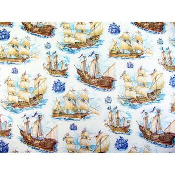 Papier-Stein Geschenkseide - Sonderpreis je kg; 50 x 70 cm; Segelschiffe (Maritim-Motiv); blau; Seide, geprägt; Bogen, einmal gelegt