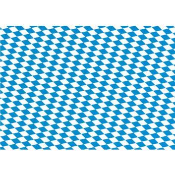 Geschenkpapier; 70 x 100 cm; bayerisch Raute; weiß-blau; Offset, glatt; Bogen, einmal gelegt; ca. 80 g/qm