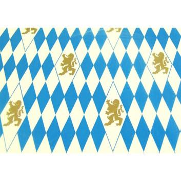 Geschenkpapier; 70 x 100 cm; bayerisch Raute mit Löwen; weiß-blau-gold; Offset, glatt; Bogen, einmal gelegt; ca. 80 g/qm