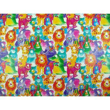 Geschenkpapier; 70 x 100 cm; Kindermotiv: Zootiere kunterbunt; grün-orange-türkis-pink-blau; Offsetpapier einseitig bedruckt; Bogen, einmal gelegt