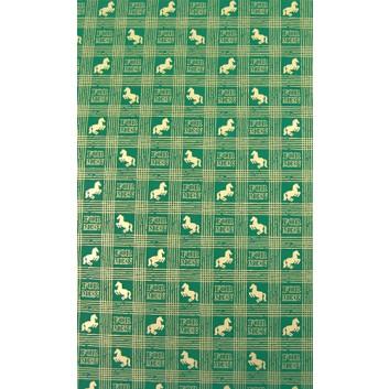 Geschenkpapier; 70 x 100 cm; Gitternetzlinien mit Pferd; smaragdgrün-goldfarben; Offsetpapier einseitig bedruckt; Bogen, einmal gelegt