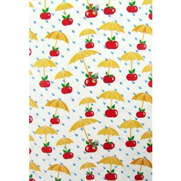 Geschenkpapier; 70 x 100 cm; Regenschirm mit Motivgriff Kirsche; rot-beige-weiß-blau-grün; Offsetpapier einseitig bedruckt; Bogen, einmal gelegt