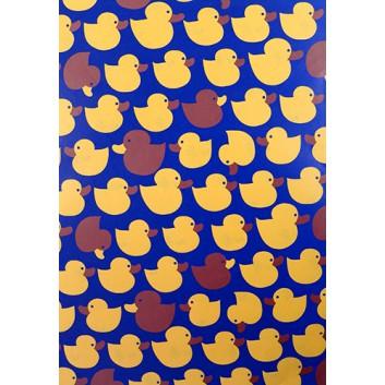 Geschenkpapier; 70 x 100 cm; Kindermotiv: Enten zweifarbig; orange-braun-blau; Offsetpapier einseitig bedruckt; Bogen, einmal gelegt