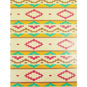 Geschenkpapier; 70 x 100 cm; Kraftpapier mit Retromuster; beige-pink-türkis-orange; Geschenkpapier, braun-matt, enggerippt; Bogen, einmal gelegt
