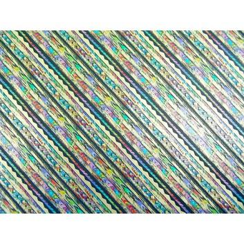 Geschenkpapier; 70 x 100 cm; Querstreifen verschiedene Muster; blau.-lila-gold-türkis-pink; Offsetpapier einseitig bedruckt; Bogen, einmal gelegt