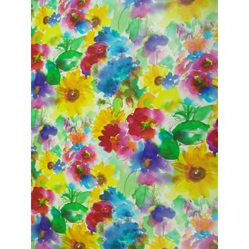 Geschenkpapier; 70 x 100 cm; Blumenmeer; bunt: gelb-rot-blau-orange-grün-pink; Offsetpapier einseitig bedruckt; Bogen, einmal gelegt