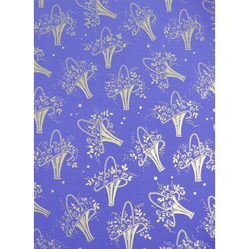 Geschenkpapier; 70 x 100 cm; Blumenstrauß mit Goldumrandung; gold-lila; Offsetpapier einseitig bedruckt; Bogen, einmal gelegt