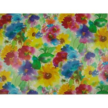 Geschenkpapier; 70 x 100 cm; bunte Frühlingsblumen; gelb-blau-grün-rot-pink; Offsetpapier, glatt; Bogen einmal gelegt