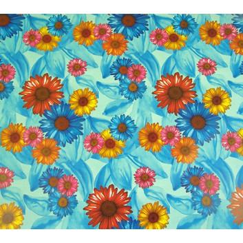 Geschenkpapier; 70 x 100 cm; Gebera bunt gemischt; orange-blau-pink-; Offsetpapier, glatt; Bogen einmal gelegt