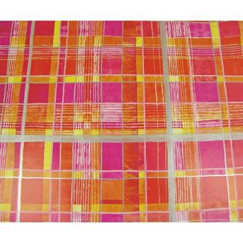 Geschenkpapier; 70 x 100 cm; Querstreifen-Längsstreifen; orange-rosa-weiß-pink; Offsetpapier, glatt; Bogen einmal gelegt