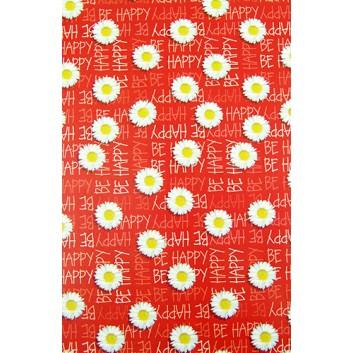Paper + Design Geschenkpapier; 50 x 70 cm; Gänseblümchen; rot-weiß-gelb; Offsetpapier einseitig bedruckt; Bogen plano