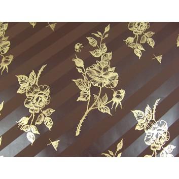 Papier-Stein Geschenkpapier; 70 x 100 cm; Rosen; braun-gold; Offset; Bogen; Hintergrund Blockstreifen matt-glänzend