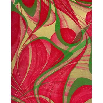 Lack-Geschenkpapier, extrafest; 70 x 100 cm; Grafikmotiv: Wilde Linien; rot-grün-gold; Lackpapier,extrastark-hochglänzend,glatt