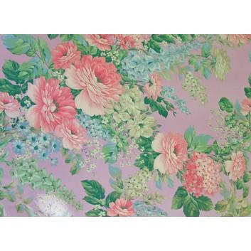 Papier-Stein Lack-Geschenkpapier, extrafest; 70 x 100 cm; gemischte Blumen pastell; flieder - rosa - hellblau - hellgrün