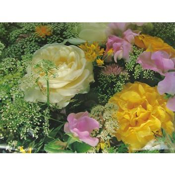 Lack-Geschenkpapier, extrafest; 70 x 100 cm; Rosenarrangement mit diversen Blumen; gelb-weiß-lila-grün; Lackpapier,extrastark-hochglänzend,glatt