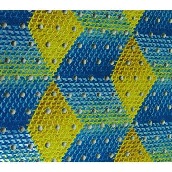 Geschenkpapier; 50 x 70 cm; Labyrinth mit Silberbällen; blau-gold-silber; Offset, metallisiert, geprägt; Bogen einmal gelegt