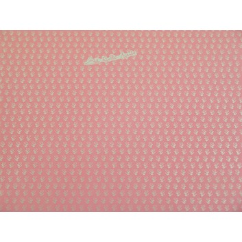 Geschenkfolie; 50 x 70 cm; Silberblümchen auf rosa; rosa-silber; Glanzfolie silber, glatt; Bogen einmal gelegt; Rückseite: uni-silber