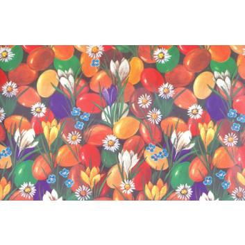 Geschenkpapier; 70 x 100 cm; Oster-Eier und Blumen im Gras; bunt; Offset, glatt; Bogen, einmal gelegt