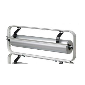 Abroller Standard; 75 cm; Aufsatz, waagrecht; gezahntes Messer; für Folie und Papier; Standard-Stahlprofilrahmen, hellgrau