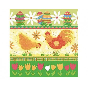 Duni Servietten; 33 x 33 cm; Hen & rooster; grün; 158792; 3-lagig; 1/4-Falz (quadratisch); Zelltuch, Soft-Tissue