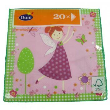 Duni Servietten; 33 x 33 cm; Pink Fairy; 162742; 3-lagig; 1/4-Falz (quadratisch); Zelltuch, Soft-Tissue