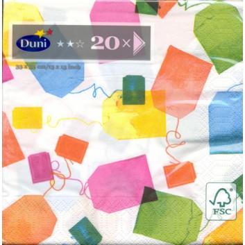 Duni Servietten; 33 x 33 cm; Tea Bags; 167207; 3-lagig; 1/4-Falz (quadratisch); Zelltuch, Soft-Tissue
