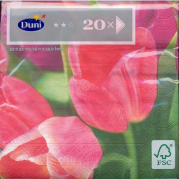 Duni Servietten; 33 x 33 cm; Tulpen; rosa; 321011; 3-lagig; 1/4-Falz (quadratisch); Zelltuch, Soft-Tissue
