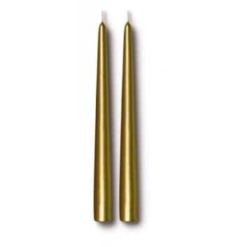Spitzkerzen; gold-metallic; 24,0 cm; 22 mm; ca. 6 h