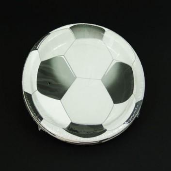 Duni Pappteller; Ø 22 cm; Fußball; schwarz-weiß; Hartpappe, laminiert; rund; FSC zertifiziert