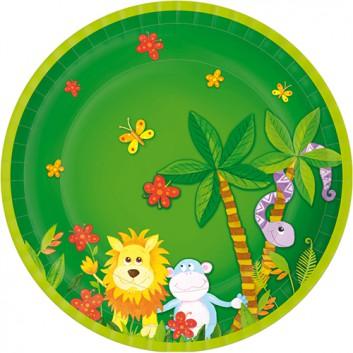 Pappteller; Ø 23 cm; Jungle Friends; bunt auf grün; Hartpappe; rund