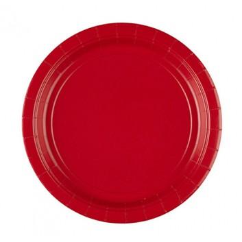 amscan Pappteller; Ø 22,8 cm; uni; rot; Hartpappe; rund