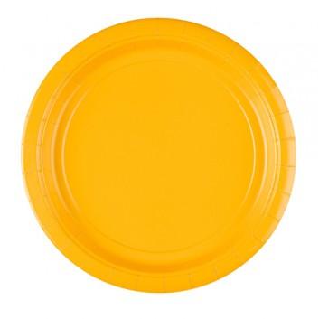 amscan Pappteller; Ø 22,8 cm; uni; gelb; Hartpappe; rund