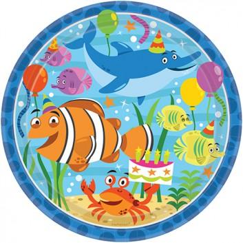 Riethmüller Pappteller; Ø 22,8 cm; Fische; bunt; Hartpappe; rund; Schönes Motiv für den Kindergeburtstag.