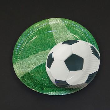 Pappteller; Ø 23 cm; Fußball; grün; Hartpappe; rund; 100% Frischfaserkarton, lebensmittelecht