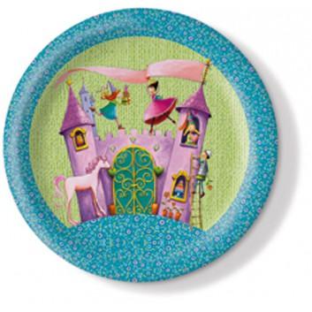 Pappteller; Ø 23 cm; Prinzessin; bunt; Hartpappe; rund; Schönes Motiv für den Kindergeburtstag.