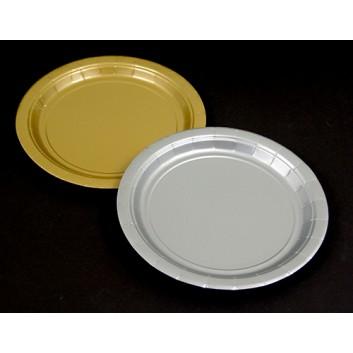 Pappteller; Ø 17,8 cm; Ornament und Uni; gold-weiß / silber / gold; Hartpappe; rund