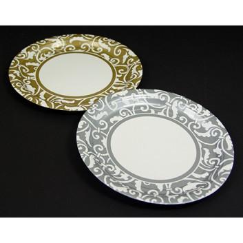 Pappteller; Ø 22,8 cm; Ornament; silber-weiß / gold-weiß; Hartpappe; rund