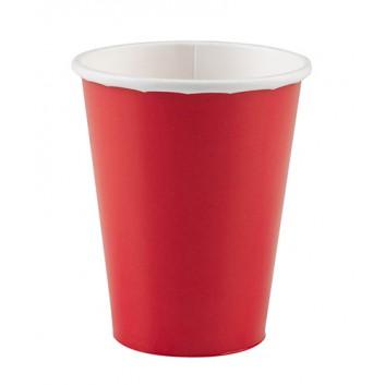 amscan Pappbecher; 200 ml; uni; rot; Hartpappe spezialbeschichtet; Gesamtfüllvolumen: 266 ml