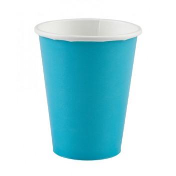 amscan Pappbecher; 200 ml; uni; türkisblau; Hartpappe spezialbeschichtet; Gesamtfüllvolumen: 266 ml