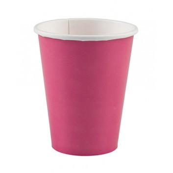 amscan Pappbecher; 200 ml; uni; pink; Hartpappe spezialbeschichtet; Gesamtfüllvolumen: 266 ml