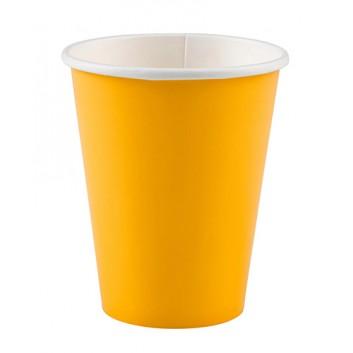amscan Pappbecher; 200 ml; uni; gelb; Hartpappe spezialbeschichtet; Gesamtfüllvolumen: 266 ml