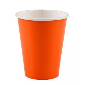 amscan Pappbecher; 200 ml; uni; orange; Hartpappe spezialbeschichtet; Gesamtfüllvolumen: 266 ml