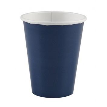 amscan Pappbecher; 200 ml; uni; dunkelblau; Hartpappe spezialbeschichtet; Gesamtfüllvolumen: 266 ml