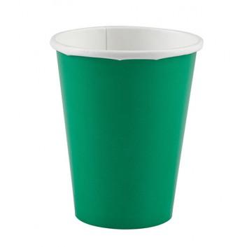 amscan Pappbecher; 200 ml; uni; dunkelgrün; Hartpappe spezialbeschichtet; Gesamtfüllvolumen: 266 ml